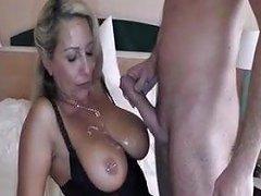 Amateur Blonde MILF Sucking Fucking Big Cock