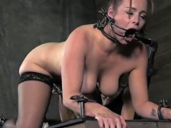 Femdom Punishes Gagged Mature Submissive
