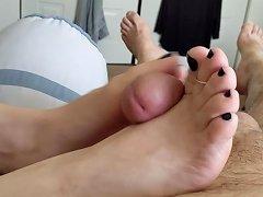 Wife's Footjob In Dark Blue Nail Polish