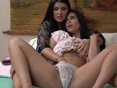 Horny MILF Stepmom Enjoys Licking Her Stepdaughters Pussy