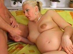 Pregnant Blonde German Blowjob