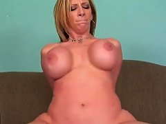 Milf With Big Ass And Fake Boobs Banged On A Sofa